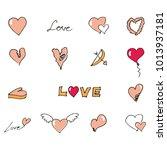 valentine's day symbols drawn... | Shutterstock .eps vector #1013937181