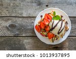 waffles with strawberry  ice... | Shutterstock . vector #1013937895