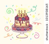 vector anniversary cake with... | Shutterstock .eps vector #1013938165