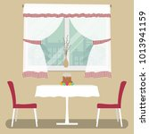 a table with a white tablecloth ...   Shutterstock .eps vector #1013941159