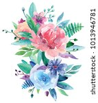 watercolor floral bouquet clip... | Shutterstock . vector #1013946781