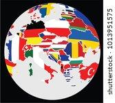 eu map in ball  vector | Shutterstock .eps vector #1013951575