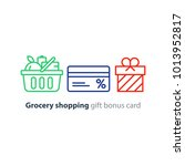 full basket of food  grocery... | Shutterstock .eps vector #1013952817