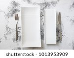 white rectangular plates with... | Shutterstock . vector #1013953909
