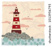 vector card with a picture of a ... | Shutterstock .eps vector #1013956795