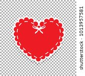 red paper cut heart label with... | Shutterstock .eps vector #1013957581