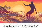 silhouette surfer  big wave ... | Shutterstock .eps vector #1013959459