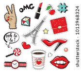 fashion patch badges with women'... | Shutterstock .eps vector #1013968324