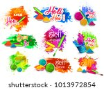 happy holi vector elements for... | Shutterstock .eps vector #1013972854