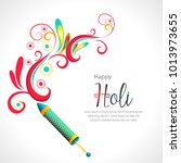 happy holi vector elements for... | Shutterstock .eps vector #1013973655