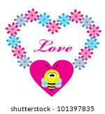 cute card with fun bee. vector... | Shutterstock .eps vector #101397835
