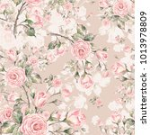 watercolor seamless rose... | Shutterstock . vector #1013978809