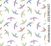 fying bird seamless pattern.... | Shutterstock .eps vector #1013981437