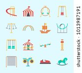 icons about amusement park with ... | Shutterstock .eps vector #1013987191