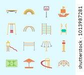 icons about amusement park with ... | Shutterstock .eps vector #1013987281