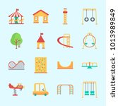 icons about amusement park with ... | Shutterstock .eps vector #1013989849