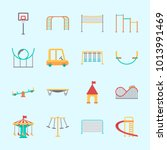 icons about amusement park with ... | Shutterstock .eps vector #1013991469