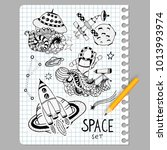 space doodles objects hand... | Shutterstock .eps vector #1013993974