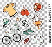doodle sport stickers fitness... | Shutterstock .eps vector #1013993977