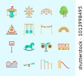 icons about amusement park with ... | Shutterstock .eps vector #1013998495