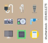 icons gadgets with cable ... | Shutterstock .eps vector #1014011275