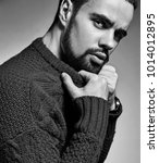 portrait of handsome fashion... | Shutterstock . vector #1014012895