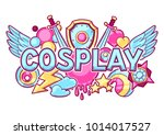 japanese anime cosplay print.... | Shutterstock .eps vector #1014017527