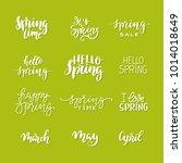 vector hello spring lettering... | Shutterstock .eps vector #1014018649