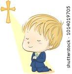 illustration of a kid boy in... | Shutterstock .eps vector #1014019705