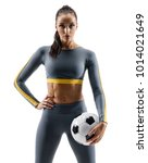 ready to play. soccer player... | Shutterstock . vector #1014021649