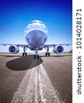 airplane on a runway is ready...   Shutterstock . vector #1014028171