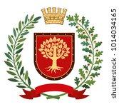 heraldry  coat of arms. olive... | Shutterstock .eps vector #1014034165