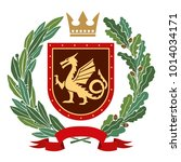 heraldry  coat of arms. olive... | Shutterstock .eps vector #1014034171