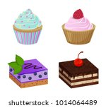 various blueberry and chocolate ... | Shutterstock .eps vector #1014064489