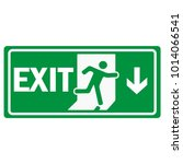 fire emergency exit sign icon... | Shutterstock .eps vector #1014066541