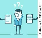 confused businessman decides...   Shutterstock .eps vector #1014069481