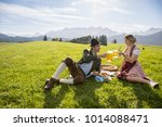 young couple in traditional... | Shutterstock . vector #1014088471