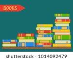 stacks of books on teal... | Shutterstock .eps vector #1014092479