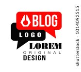 vlog or video blog label with... | Shutterstock .eps vector #1014092515