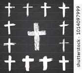 grunge hand drawn cross symbols ... | Shutterstock . vector #1014097999