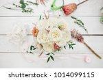 gorgeous wedding bouquet of... | Shutterstock . vector #1014099115