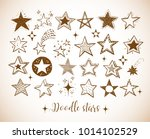 collection of doodle stars in... | Shutterstock .eps vector #1014102529