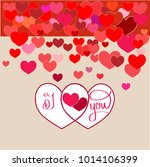 i love you card. two heart and... | Shutterstock .eps vector #1014106399