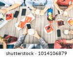 top view of friends drinking... | Shutterstock . vector #1014106879