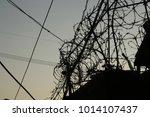 evening sky wire entanglements... | Shutterstock . vector #1014107437
