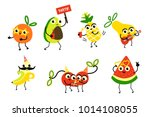 set of fruit characters having... | Shutterstock .eps vector #1014108055