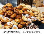 delicious dresh pastry served... | Shutterstock . vector #1014113491