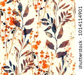 imprints flowers and leaves mix ... | Shutterstock . vector #1014114901