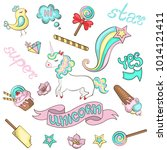 stickers with unicorn  bird ... | Shutterstock .eps vector #1014121411
