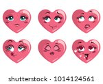 set of hearts with emotions.... | Shutterstock .eps vector #1014124561